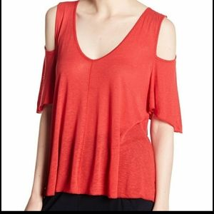 FREE PEOPLE Bittersweet Cold Shoulder Red Top S